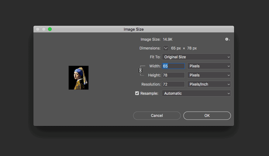 Reducing the size of the image in Photoshop
