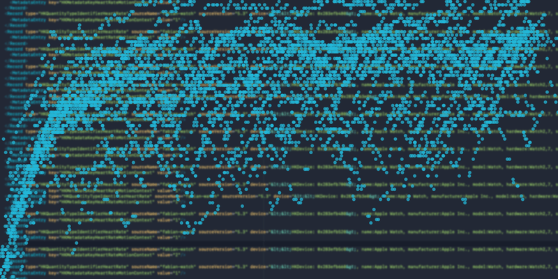 Cloud of dots and blurry XML data