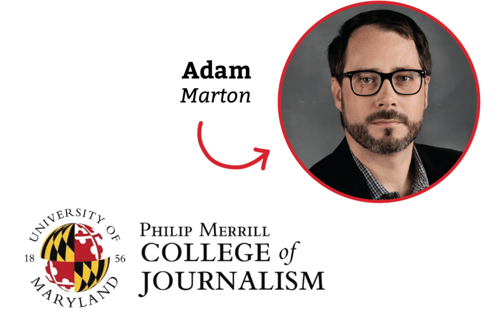 Adam Marton and his daughter and the logo of the Philip Merrill College of Journalism