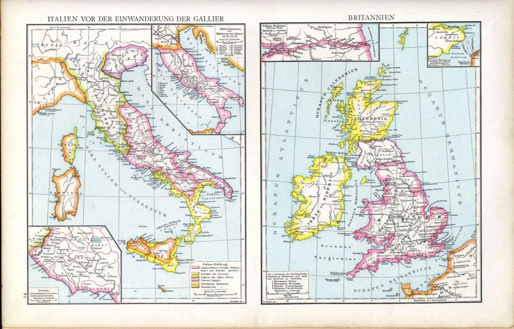 Droysens Allgemeiner Historischer Handatlas map of Great Britain and Italy