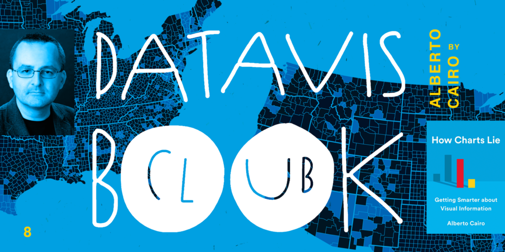 data vis book club cover of alberto cairo's how charts lie