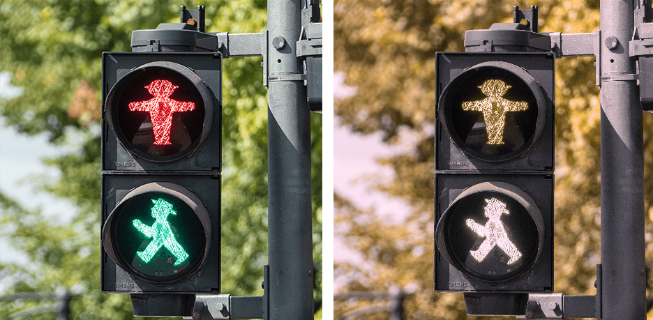 Greenblind view of a traffic light