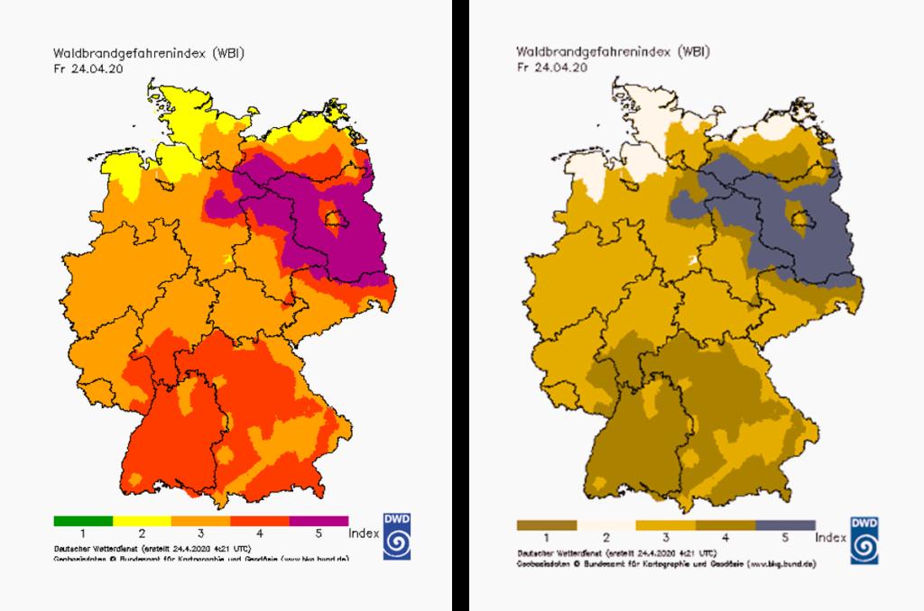 Greenblind view of a map by the Deutscher Wetterdienst