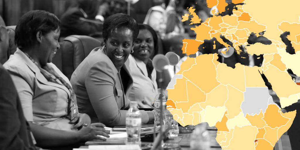 Map superimposed over photo of Rwandan Government