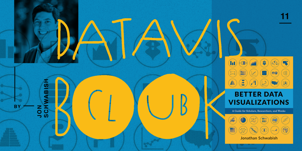 "data vis book club cover for Jon Schwabish's ""Better Data Visualizations"""