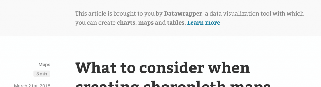 """Screenshot of the header of our blog, stating """"This article is brought to you by Datawrapper"""""""