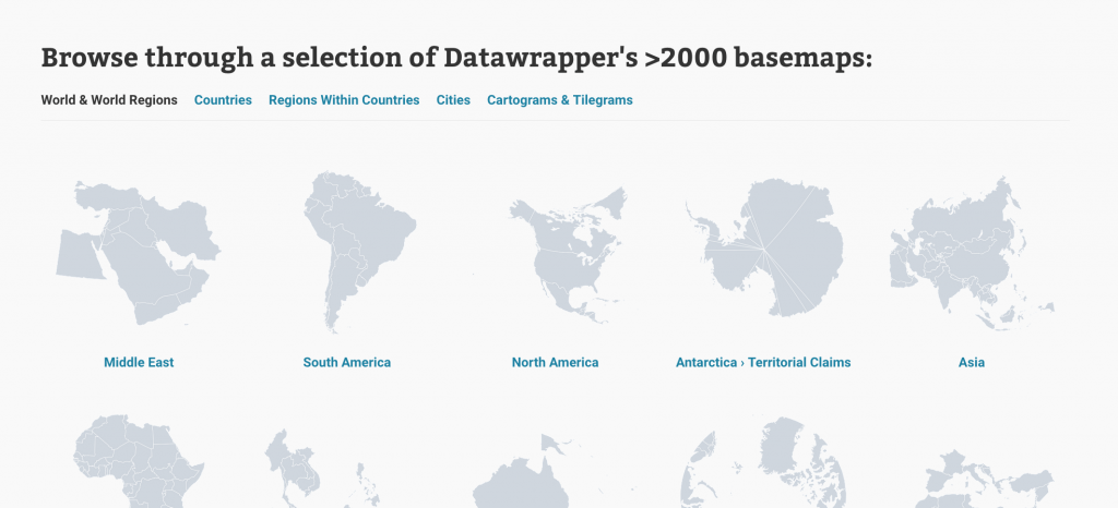 Screenshot of our basemap search page