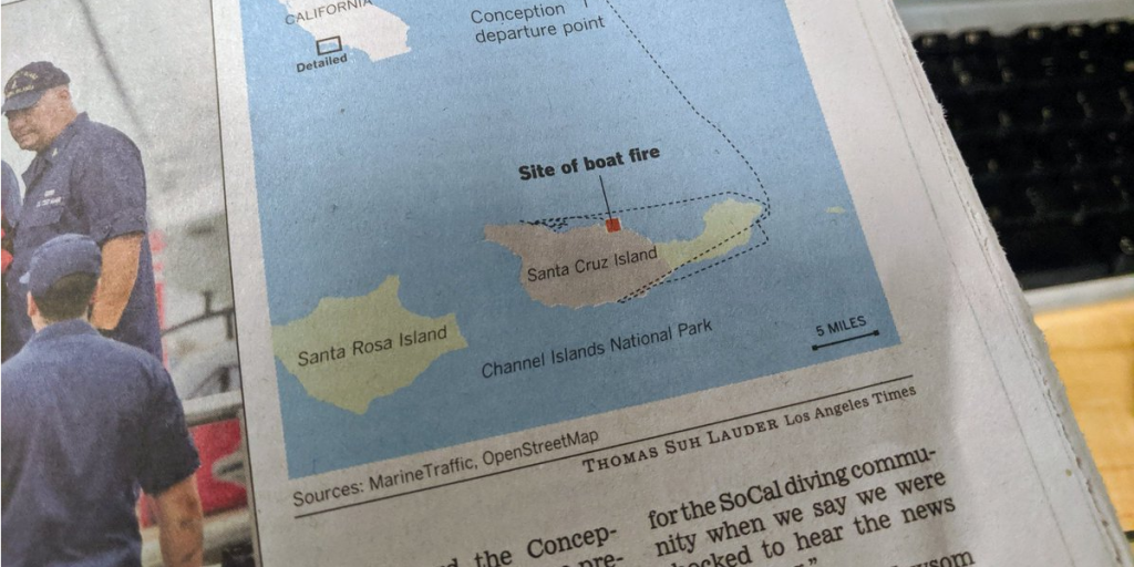 Image of a printed newspaper with a map created with Datawrapper in it