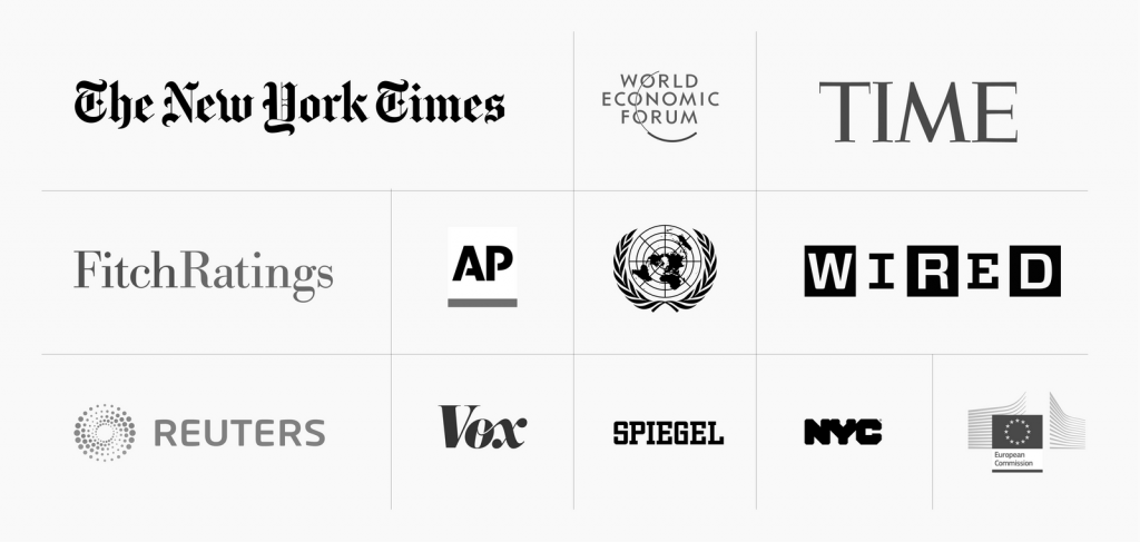 logos of selected Datawrapper customers, like United Nations, the New York Times, Fitch Ratings, World Economic Forum, Reuters, the European Commission, and the City of New York