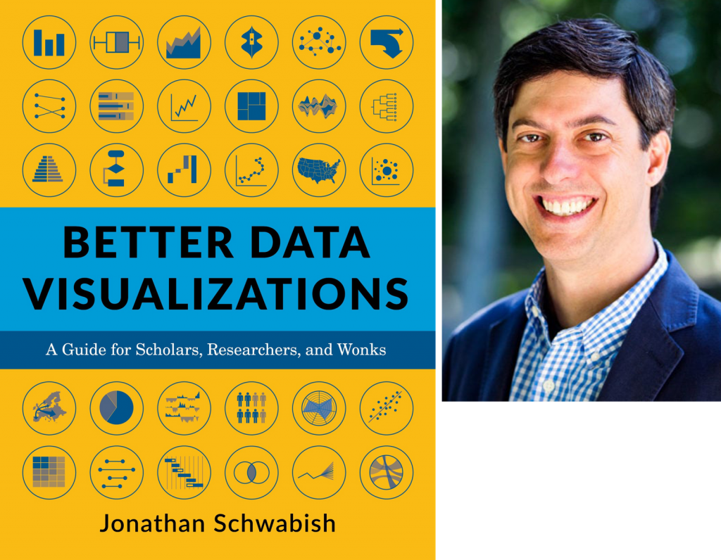 Book cover of 'Better Data Visualizations' and a photo of Jon Schwabish