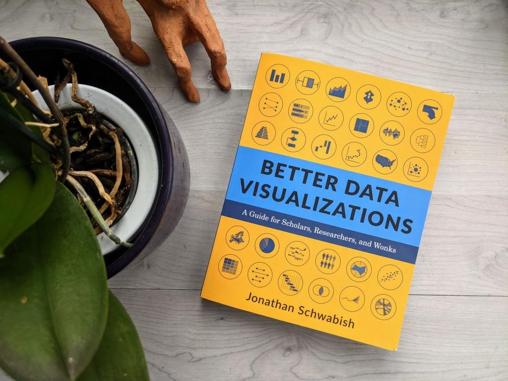 Jon Schwabish's 'Better Data Visualizations' next to a plant