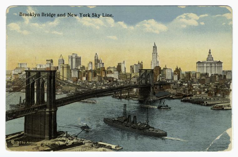 An old postcard of the New York skyline