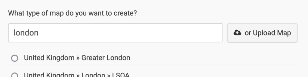 A screenshot of the Datawrapper UI for choosing or uploading a basemap