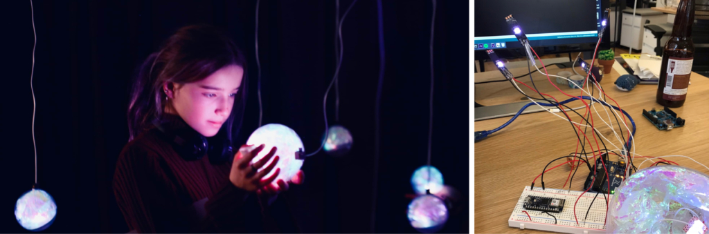 Photos from Shirley Wu's project Fearless, showing a girl with a glowing ball and lots of cables.